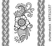 set of mehndi flower pattern... | Shutterstock .eps vector #687312157