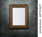 brown antique frame with golden ... | Shutterstock . vector #687313657