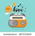 vintage radio on blue ... | Shutterstock .eps vector #687315643
