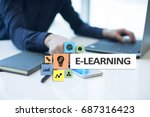 e learning on the virtual...   Shutterstock . vector #687316423
