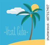 beach with palm tree in cuba... | Shutterstock .eps vector #687317407