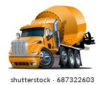vector cartoon mixer truck... | Shutterstock .eps vector #687322603