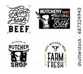 farm fresh beef badges'n'logos. ... | Shutterstock .eps vector #687324943