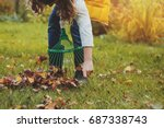 happy child girl playing little ... | Shutterstock . vector #687338743