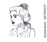 trendy beautiful young girl...   Shutterstock .eps vector #687345157