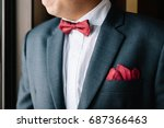 man in tuxedo and bow tie for... | Shutterstock . vector #687366463