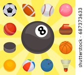 set of balls isolated... | Shutterstock .eps vector #687373633