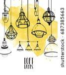 flyer with modern edison loft ... | Shutterstock .eps vector #687385663