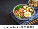 japanese ramen soup with tofu... | Shutterstock . vector #687390187