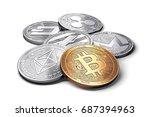 stack of cryptocurrencies ... | Shutterstock . vector #687394963