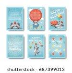 happy birthday raccoon. set of... | Shutterstock .eps vector #687399013