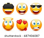 smiley with blue eyes emoticon...   Shutterstock .eps vector #687406087