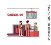 airline company woman working...   Shutterstock .eps vector #687407467