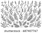 hand drawn set of tree branches ... | Shutterstock . vector #687407767