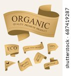 natural label and organic label ... | Shutterstock .eps vector #687419287