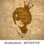 vintage princess silhouette....   Shutterstock . vector #687419743
