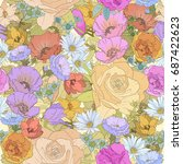 seamless floral backdrop of... | Shutterstock . vector #687422623