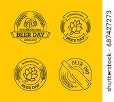 international beer day  beer... | Shutterstock .eps vector #687427273