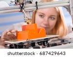 a female student or laboratory... | Shutterstock . vector #687429643