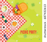 cartoon summer picnic in park... | Shutterstock .eps vector #687432613