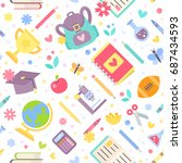 back to school seamless pattern ... | Shutterstock .eps vector #687434593