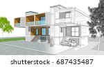 townhouse  3d illustration | Shutterstock . vector #687435487