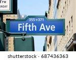 fifth avenue street in a sunny... | Shutterstock . vector #687436363