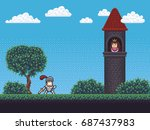 Pixel art background scene with tower, knight, princess, grass, tree, bushes and clouds | Shutterstock vector #687437983