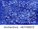business icon on blue crumpled... | Shutterstock . vector #687438823