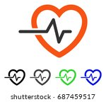 heart pulse flat vector icon.... | Shutterstock .eps vector #687459517