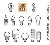 led light bulbs with b22 base ... | Shutterstock . vector #687462577