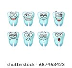 vector set of cute teeth  for... | Shutterstock .eps vector #687463423
