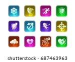 collection of decoration icons... | Shutterstock .eps vector #687463963