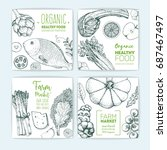 healthy food banner set.... | Shutterstock .eps vector #687467497