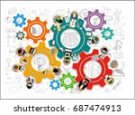 flat design illustration... | Shutterstock .eps vector #687474913
