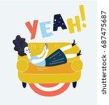 vector funny illustration of... | Shutterstock .eps vector #687475687