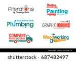 set of typography logos for... | Shutterstock .eps vector #687482497