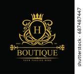 luxury logo template in vector... | Shutterstock .eps vector #687487447