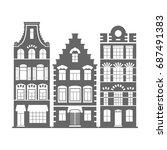 set of 3 shape amsterdam ... | Shutterstock . vector #687491383