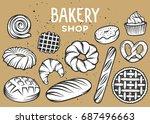 set of vector bakery engraved... | Shutterstock .eps vector #687496663