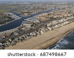 aerial of sunset beach ocean... | Shutterstock . vector #687498667