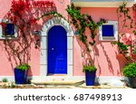 colorful charming streets of... | Shutterstock . vector #687498913