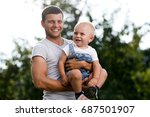 father and son in the... | Shutterstock . vector #687501907