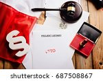 red veto stamp on law act and... | Shutterstock . vector #687508867