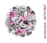 floral botanical circle...   Shutterstock .eps vector #687517867