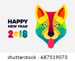 happy 2018 new year... | Shutterstock .eps vector #687519073