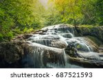 beautiful waterfall with... | Shutterstock . vector #687521593