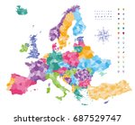 europe map colored by countries ... | Shutterstock .eps vector #687529747