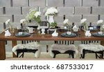 outdoor table setting | Shutterstock . vector #687533017