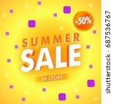 yellow hot summer sale template ... | Shutterstock .eps vector #687536767